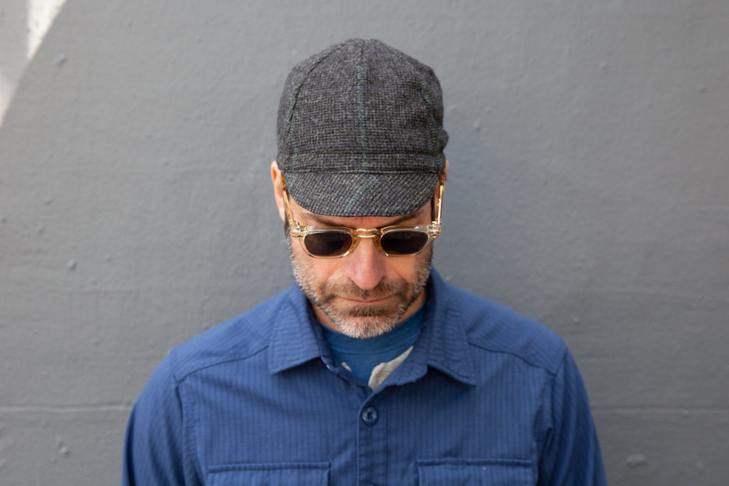CHARCOAL WITH BLUE & GREEN STRIPE flannel wool CAP