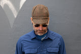 GREEN & BROWN HOUNDSTOOTH WITH RED STRIPE heavy-weight super soft wool CAP