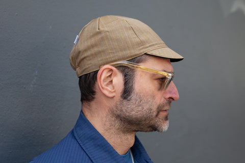 BROWN MUSTARD WITH YELLOW + BLUE PINSTRIPE lightweight wool CAP