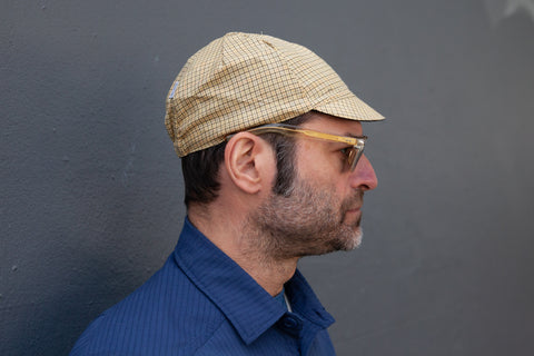 CORNSILK WITH GREY & MULTI-COLOR CHECK lightweight wool CAP