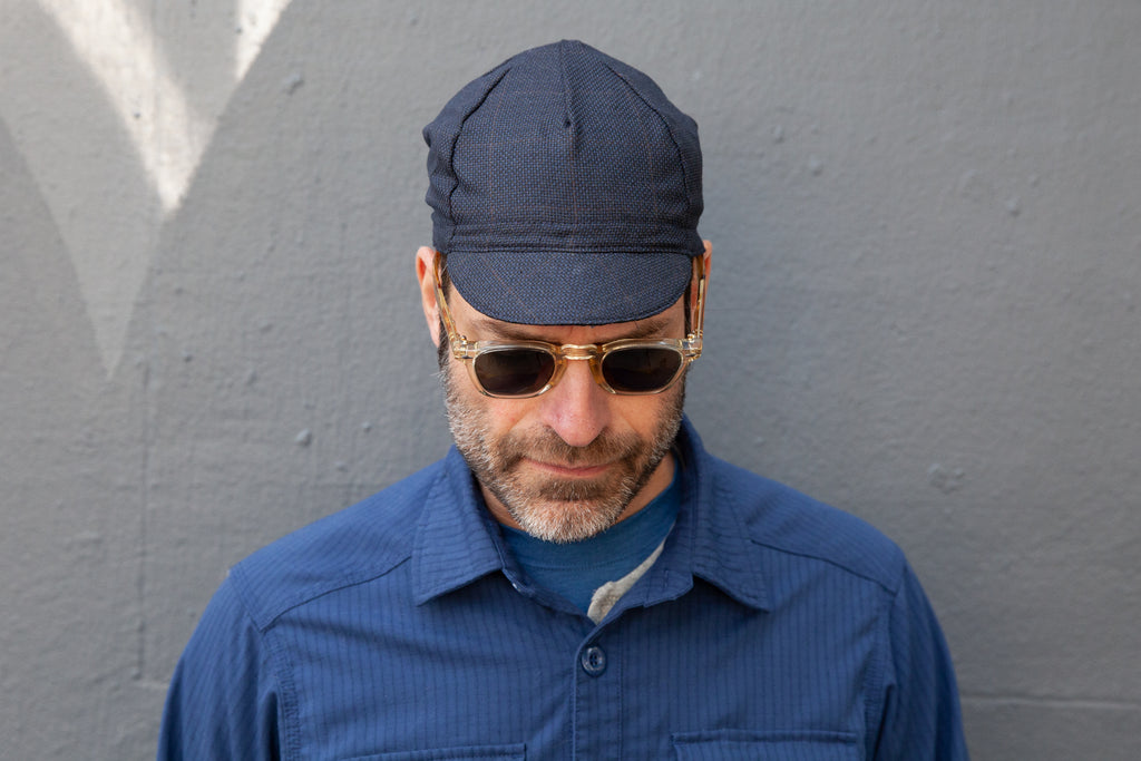 NAVY/TAN HOPSACK CHECK midweight wool CAP