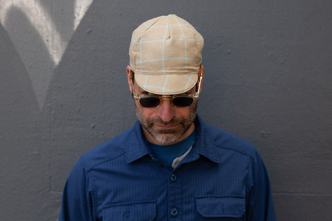 TAN WITH SEA FOAM CHECK midweight wool CAP
