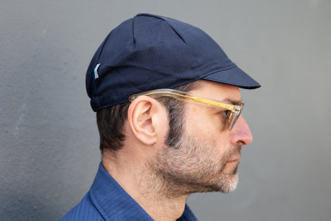 NAVY WITH LARGE CHECK midweight wool CAP