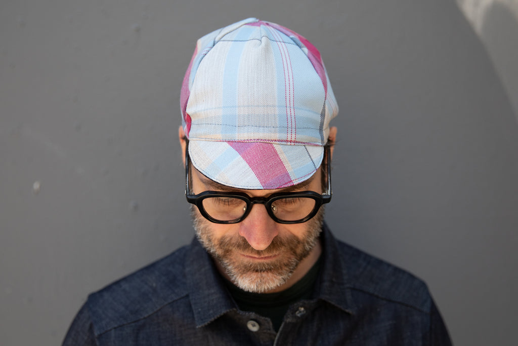 BLUE + RED CHECK midweight wool CAP