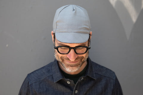 COLD GREY w/ NAVY & COPPER STRIPE lightweight wool CAP