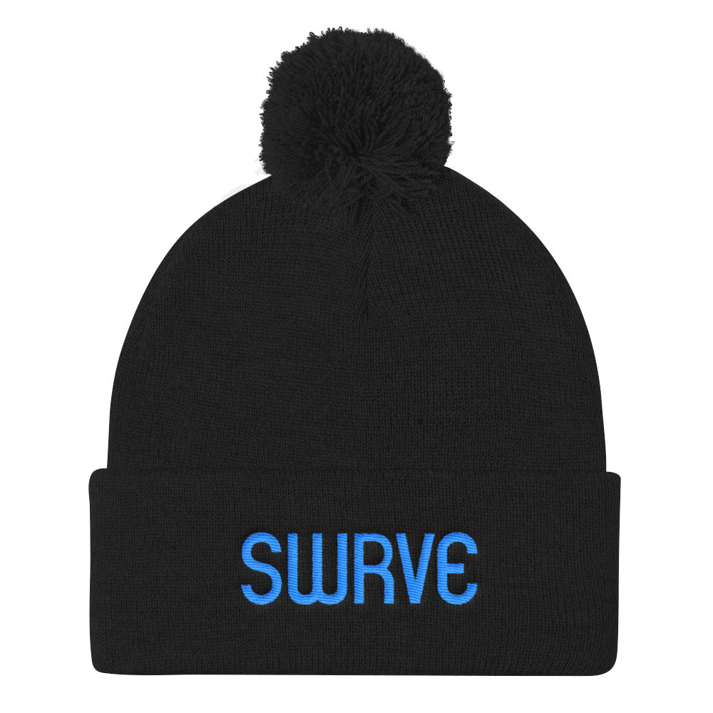 swrve 1968 CYAN embroidered Pom Pom Knit Cap