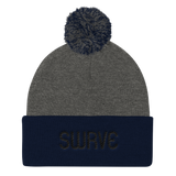 swrve 1968 BLACK embroidered Pom Pom Knit Cap