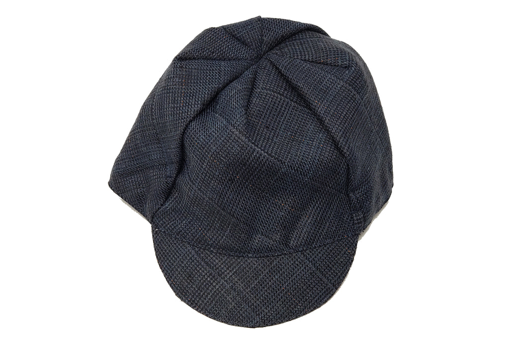 MULTI-COLOR w/ ORANGE STRIPE coarse weave wool/silk CAP