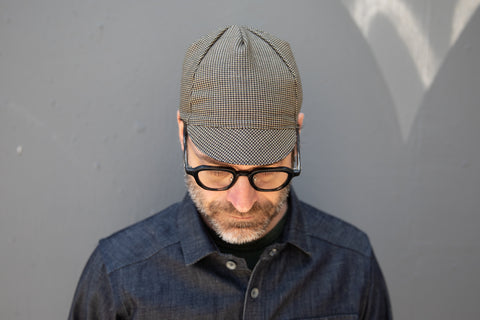 OLIVE/NAVY/TAN BABY HOUNDS TOOTH midweight wool CAP
