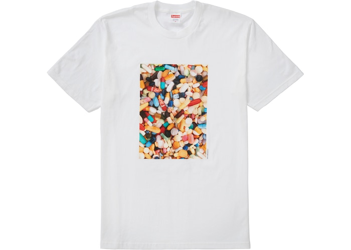"Supreme ""Pills"" White tee"
