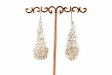 Load image into Gallery viewer, CROCHET TEARDROP EARRINGS WITH FRESH WATER PEARL
