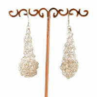 CROCHET TEARDROP EARRINGS WITH FRESH WATER PEARL