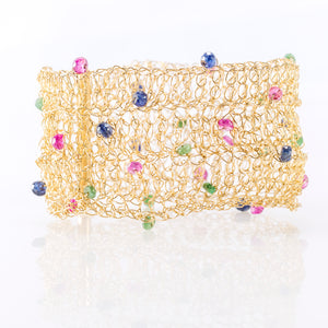 "CUFF 1.5"" IN RUBIES, SAPPHIRES AND EMERALDS"