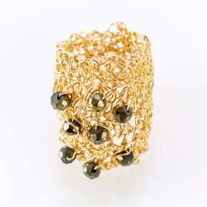 OVAL RING GOLD AND BLACK SPINAL
