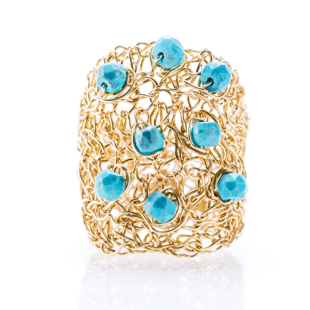 OVAL RING GOLD AND TURQUOISE