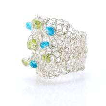 Load image into Gallery viewer, OVAL RING SILVER AND PERIDOT AND APATITE
