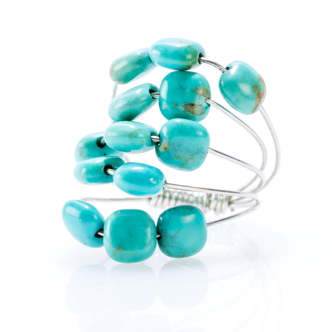 5 LAYER RING SILVER AND TURQUOISE