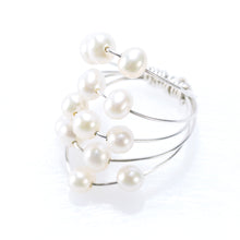 Load image into Gallery viewer, 5 LAYER RING SILVER AND PEARLS