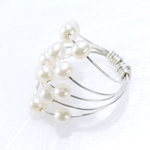5 LAYER RING SILVER AND PEARLS