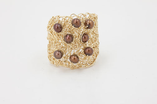 Oval Gold Ring with Stones