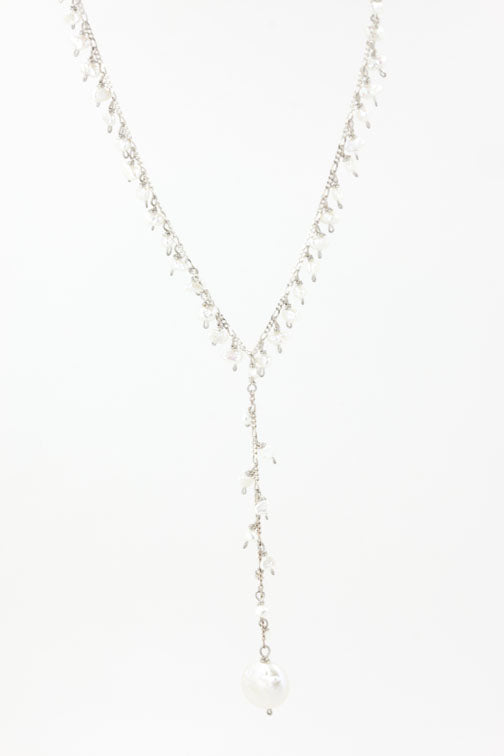 Coin Drop Necklace with Pearls