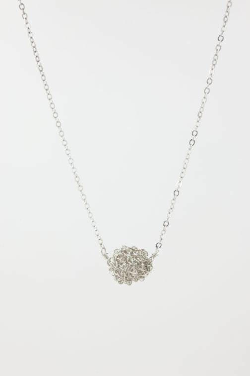 Crochet Ball Silver Necklace