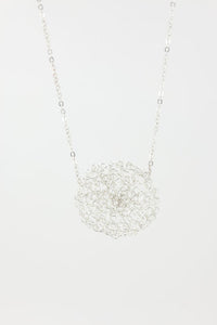 Crochet Circle Silver Necklace