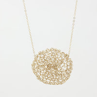 Crochet Circle Gold Necklace
