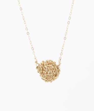 Crochet Ball Gold Necklace
