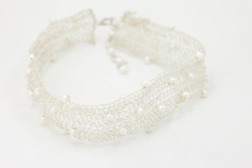 Crochet Silver Choker 0.75 in.