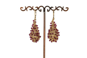 CROCHET TEARDROP EARRINGS WITH GARNETS