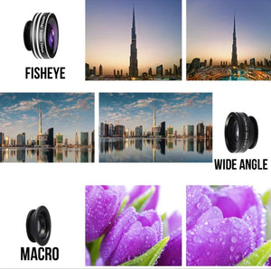 Clip-on Universal Phone Camera Lens Kit, 180 Degree Fisheye, Wide Angle 0.67X, Macro - Daily Tech Bargains
