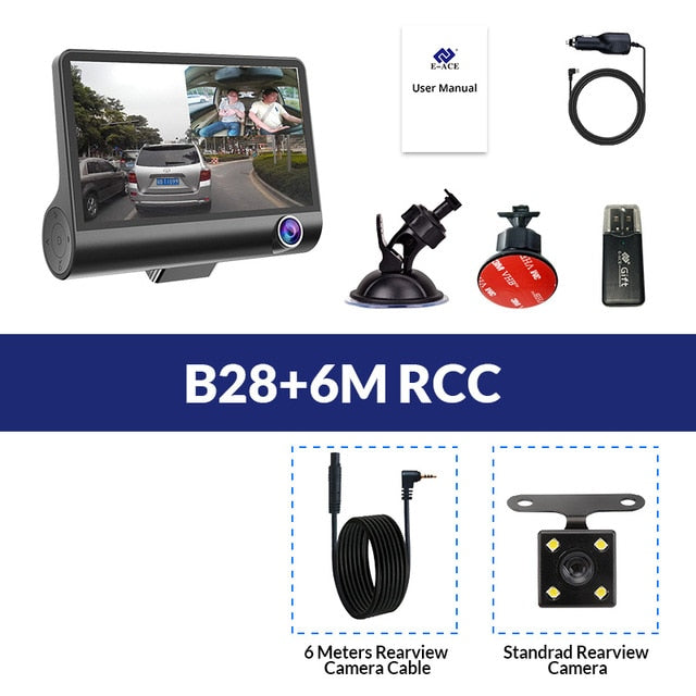 Car DVR Dash Camera 3 Cameras Lens 4.0 Inch LCD Dual Lens With Rearview Camera Video Recorder - Daily Tech Bargains