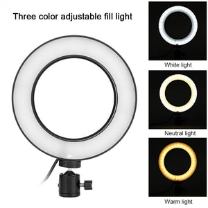 "6""/10"" Dimmable LED Selfie Ring Light for Live Studio Makeup Photography with Mini Tripod Phone Clip - Daily Tech Bargains"