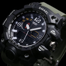 Load image into Gallery viewer, SMAEL Men Sports Watch Dual Display Analog Digital LED Quartz Wristwatch Waterproof for Swimming, Military Style Watch - Daily Tech Bargains
