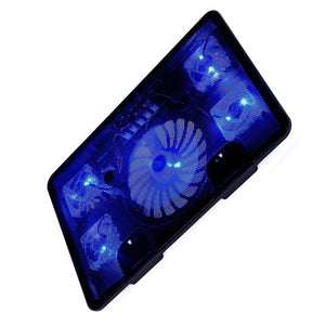 "LED Laptop Cooler Pad 14"" 15.6"" 17"" with 5 fans 2 USB Port Slide-proof Notebook Cooling Fan - Daily Tech Bargains"