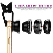 Load image into Gallery viewer, Clip-on Universal Phone Camera Lens Kit, 180 Degree Fisheye, Wide Angle 0.67X, Macro - Daily Tech Bargains