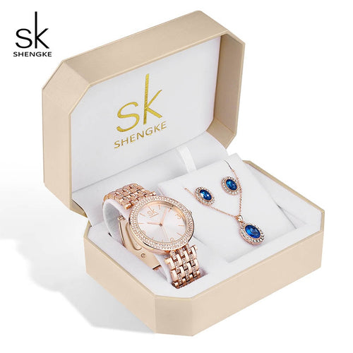 Shengke Crystal Jewelry Set Quartz Watch, Earrings, and  Necklace Set - Daily Tech Bargains