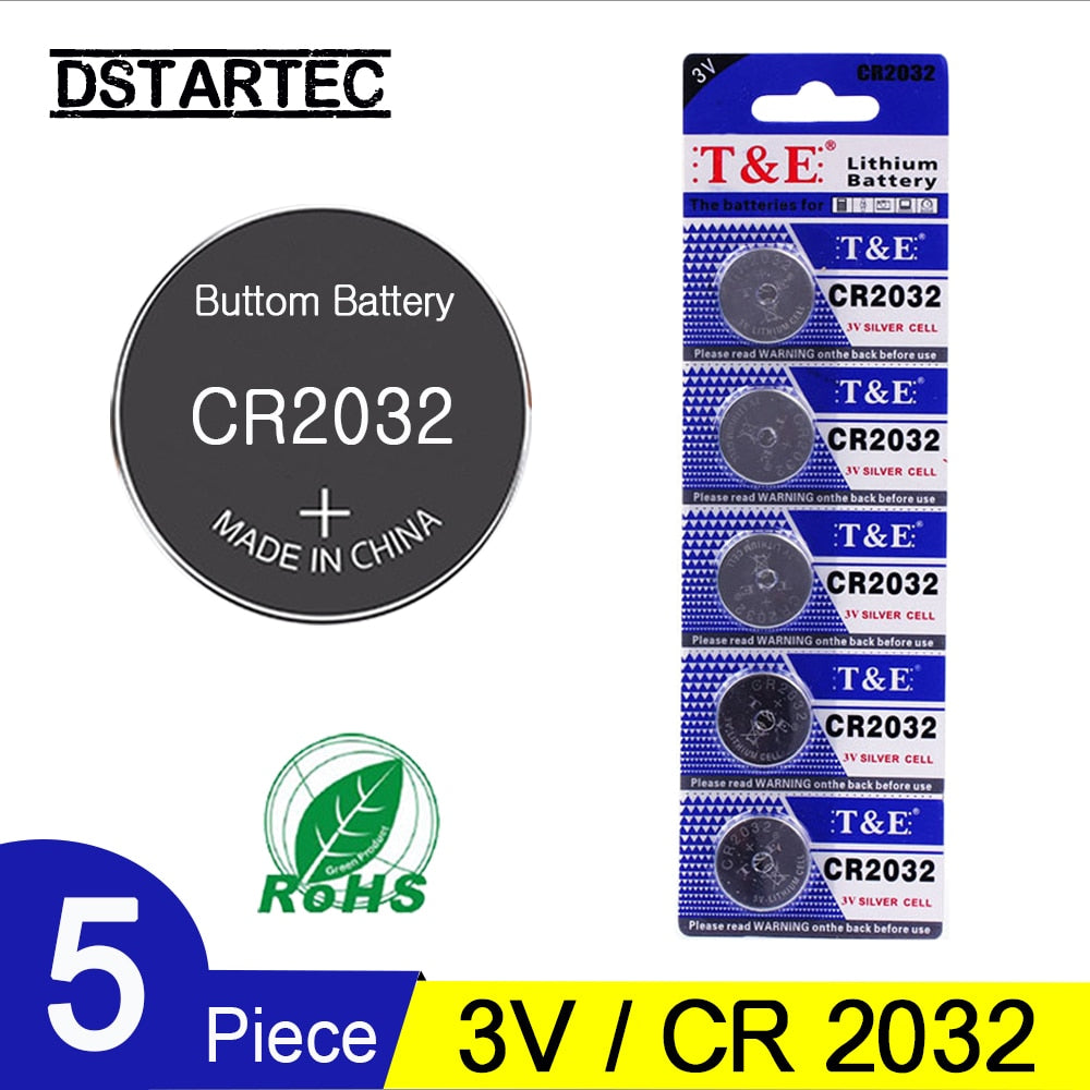 5PCS Button Cell Battery 3V CR2032 BR2032 DL2032 ECR2032 Li-ion For Motherboards, Remotes, Watches - Daily Tech Bargains