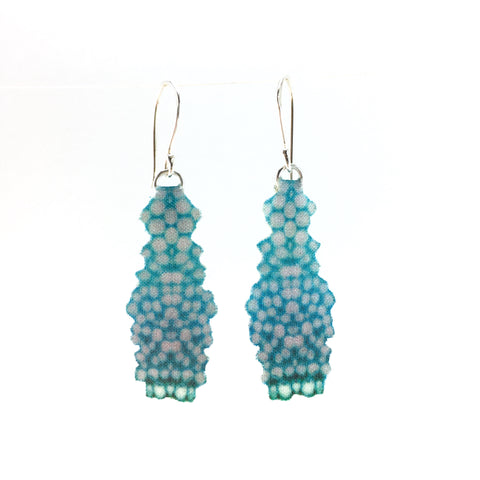 Blue Cotton Dangle Earrings with Fine Silver Hooks