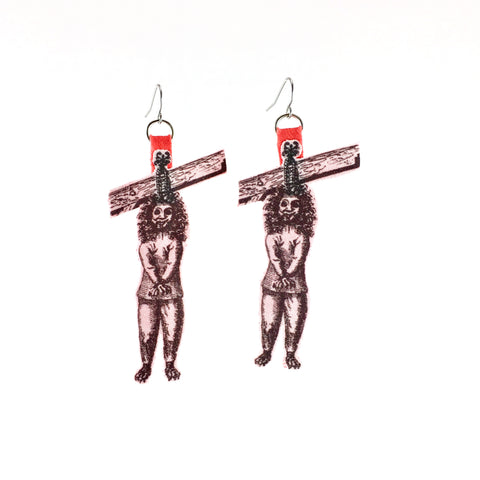 organic cotton hangman statement earring with red vintage backing and surgical stainless steel ear wire
