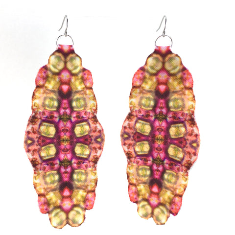 Pink Bubble Edge Earrings Large
