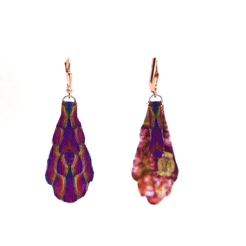 Purple Print Fan Earrings Small with Copper