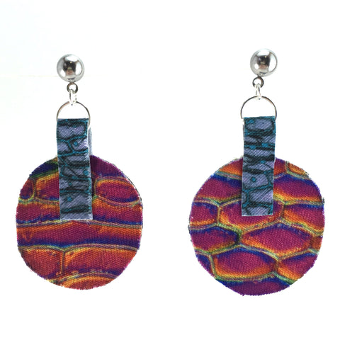Rainbow Planet Earrings with Vintage Brocade