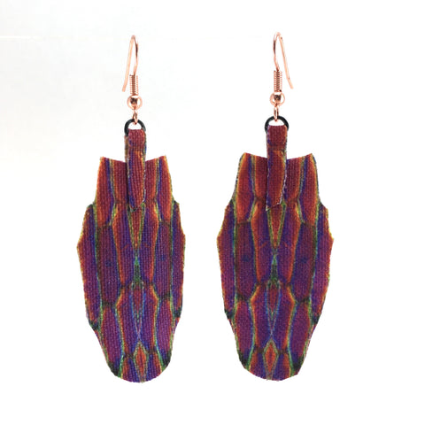Purple Rainbow Canvas Earrings Large