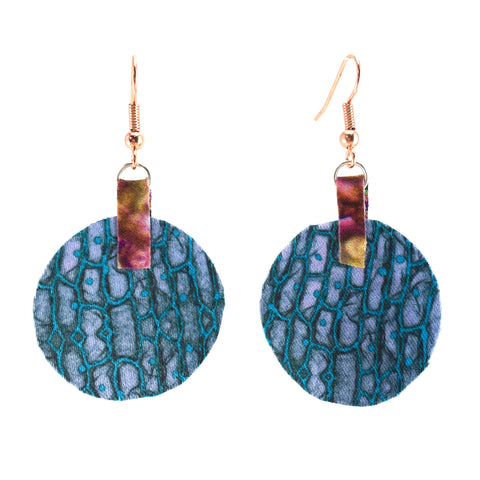 Blue Satin Round Earring With Copper Hooks