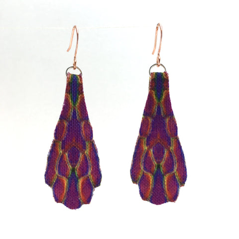 Purple Print Fan Earrings Small with Copper Hooks