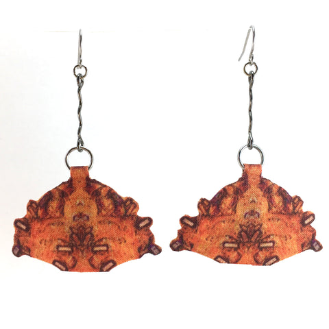 Orange Print Earrings with Zigzags