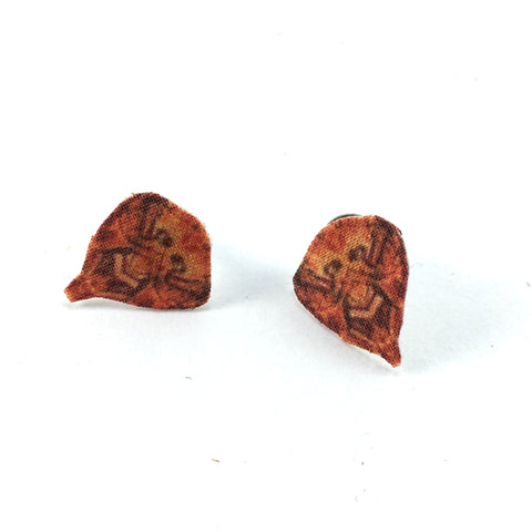 Orange Teardrop Post Earrings