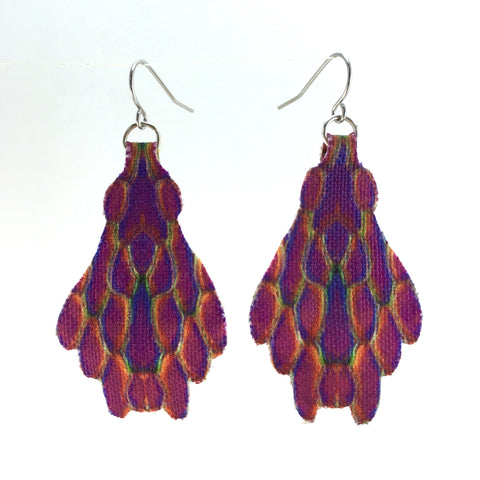 Purple Fan Earrings Medium